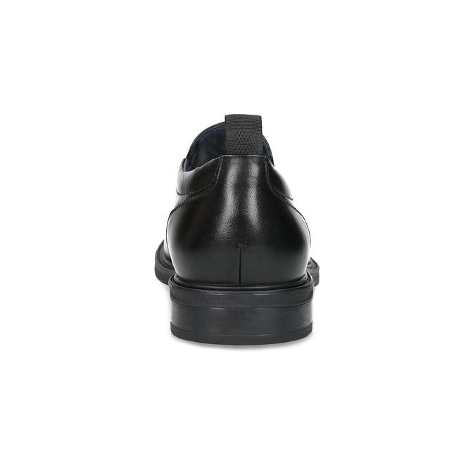 Pánske kožené mokasíny s prešitím bata, čierna, 814-6628 - 15
