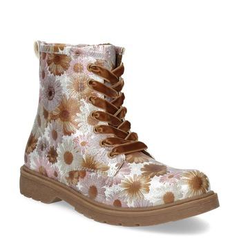 Detská členková obuv s kvetinovým vzorom mini-b, hnedá, 321-8620 - 13