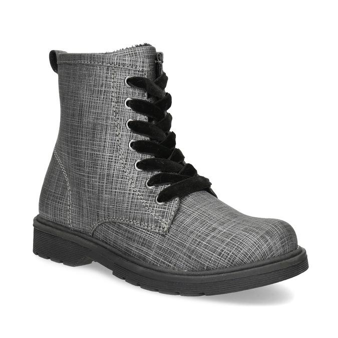 Členková detská obuv so zamatovými šnúrkami mini-b, šedá, 321-6620 - 13