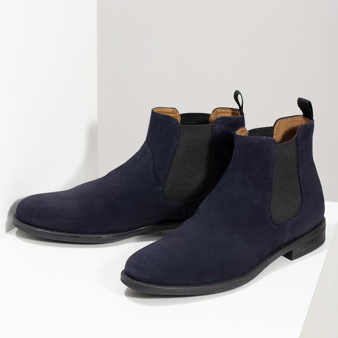 Tmavomodrá kožená pánska Chelsea obuv vagabond, modrá, 813-6153 - 16