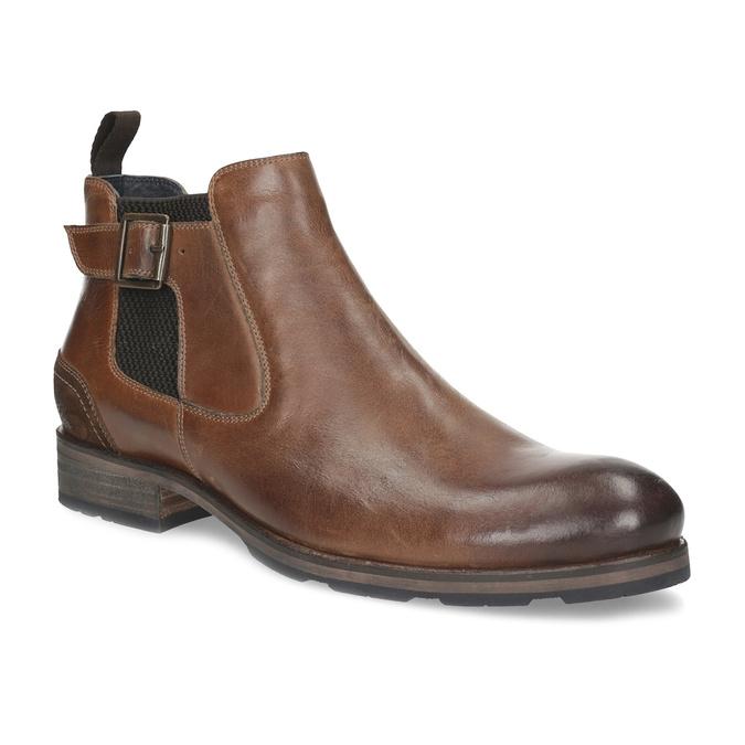 Hnedá kožená členková obuv s prackou bata, hnedá, 826-4781 - 13
