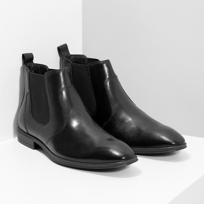 Kožená pánska členková Chelsea obuv bata, čierna, 824-6890 - 26