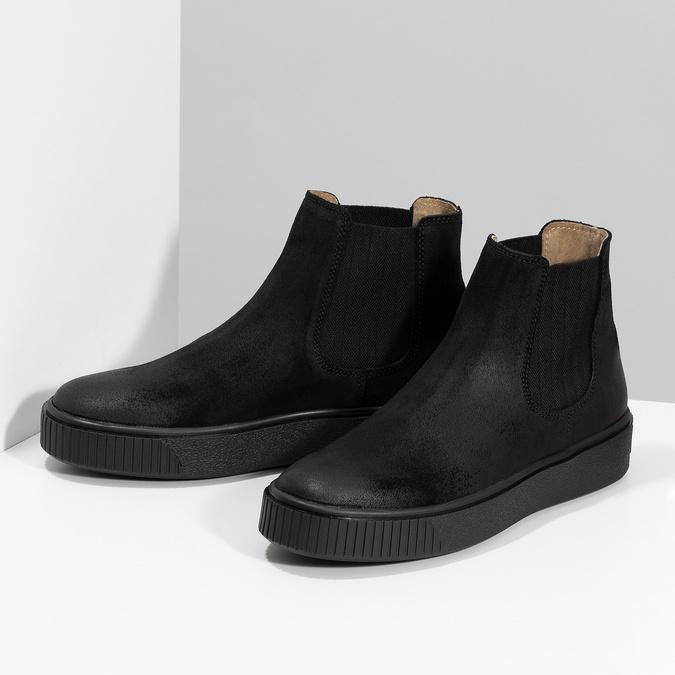 Členková kožená dámska Chelsea obuv bata, čierna, 596-6713 - 16