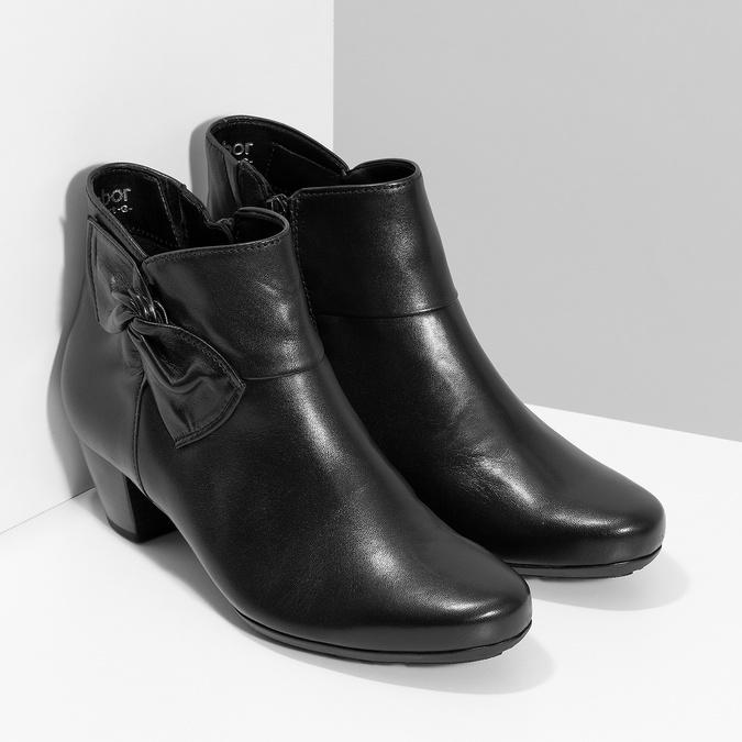 Čierne kožené členkové čižmy s mašľou gabor, čierna, 614-6005 - 26