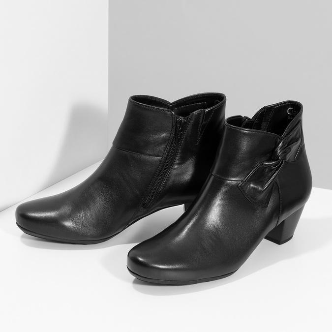 Čierne kožené členkové čižmy s mašľou gabor, čierna, 614-6005 - 16