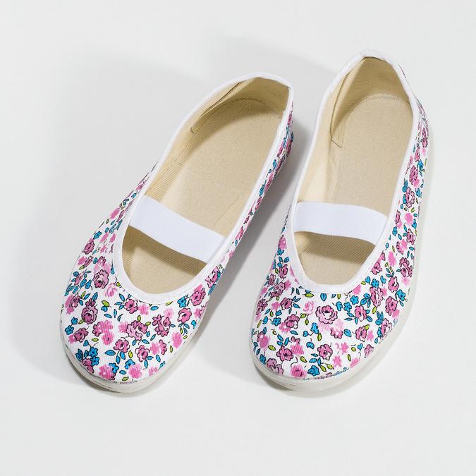 Detské prezuvky s kvetinovým vzorom bata, biela, ružová, 379-5001 - 16