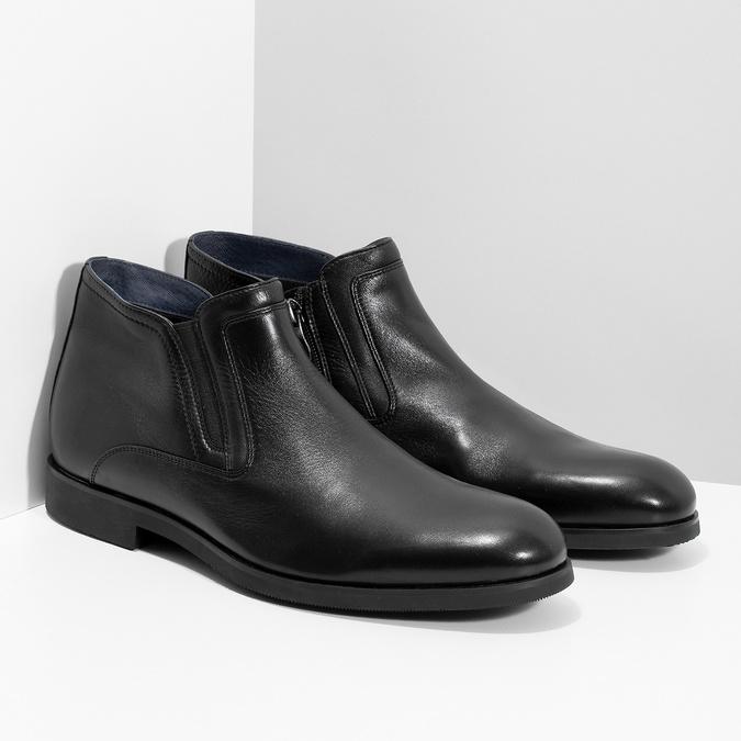 Kožená členková pánska obuv s prešitím bata, čierna, 824-6621 - 26