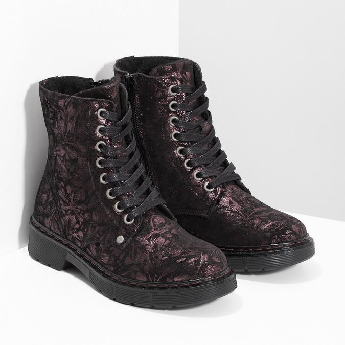 Členková kožená detská obuv so vzorom mini-b, hnedá, 426-4560 - 26