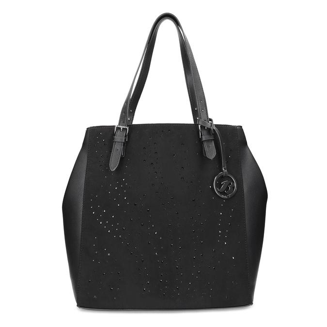 Čierna kabelka v štýle Tote s kamienkami bata, čierna, 969-6875 - 26