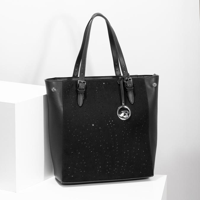 Čierna kabelka v štýle Tote s kamienkami bata, čierna, 969-6875 - 17