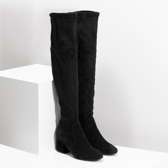 Čierne čižmy na stabilnom podpätku bata, čierna, 793-6614 - 26