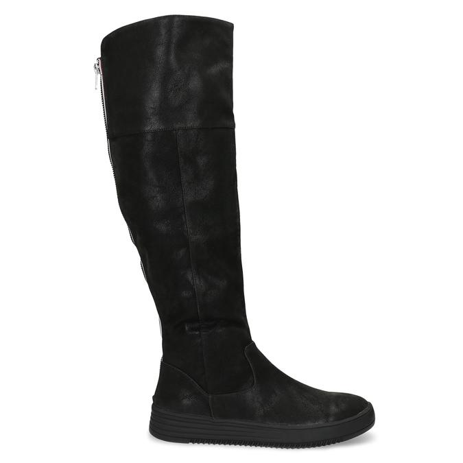 Dámske čierne čižmy s výrazným zipsom bata, čierna, 691-6636 - 19