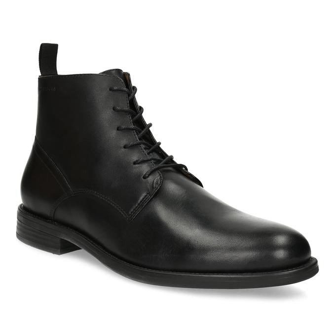Pánska čierna kožená členková obuv vagabond, čierna, 824-6238 - 13