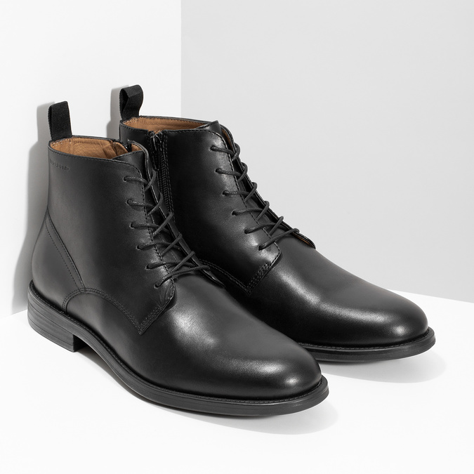 Pánska čierna kožená členková obuv vagabond, čierna, 824-6238 - 26