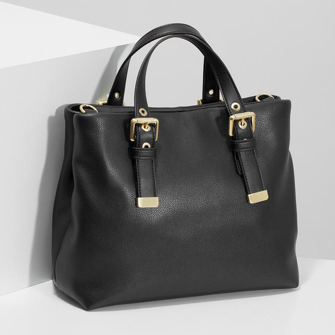 Čierna kabelka so zlatými sponami bata, čierna, 961-6886 - 17