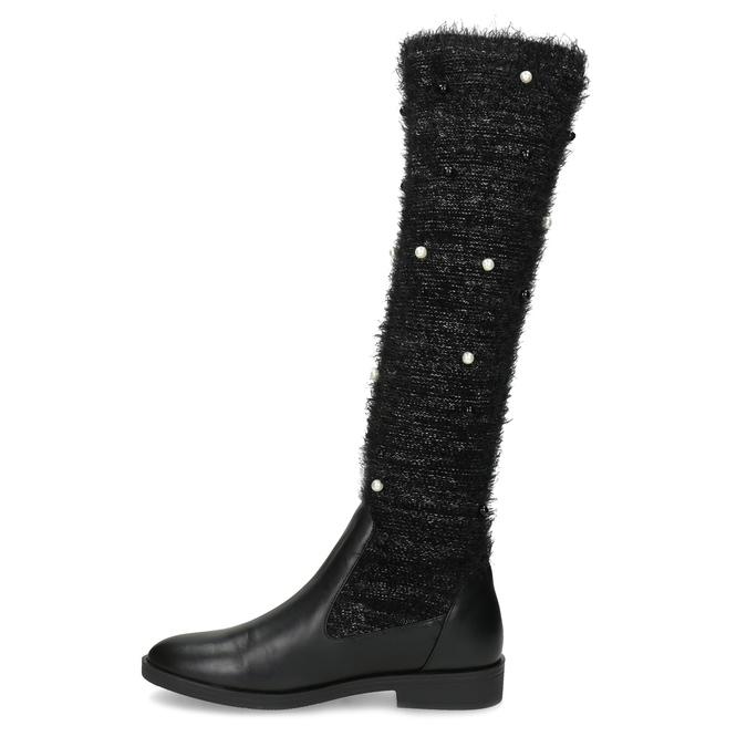 Čierne čižmy s perličkami bata, čierna, 599-6619 - 17