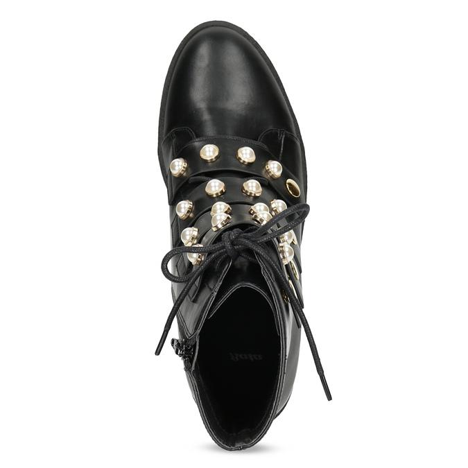 Vysoká členková obuv s perličkami bata, čierna, 591-6634 - 17