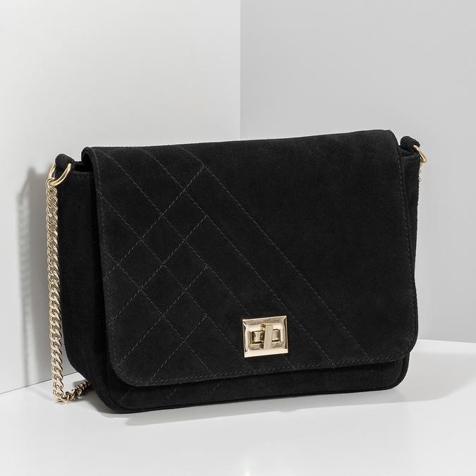 Kožená čierna crossbody kabelka s prešitím bata, čierna, 963-6603 - 17