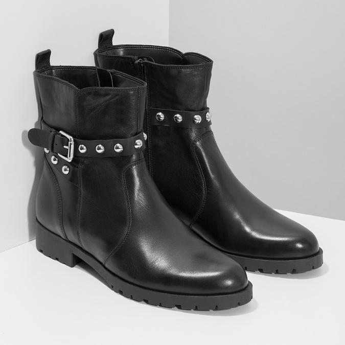 Čierna kožená členková obuv s kovovými cvočkami bata, čierna, 594-6671 - 26