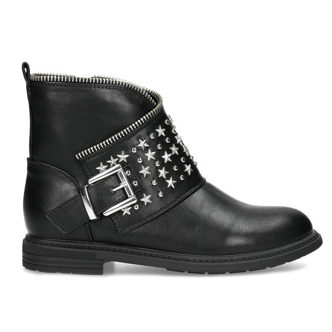 Dievčenské členkové čižmy s hviezdičkami mini-b, čierna, 391-6264 - 19