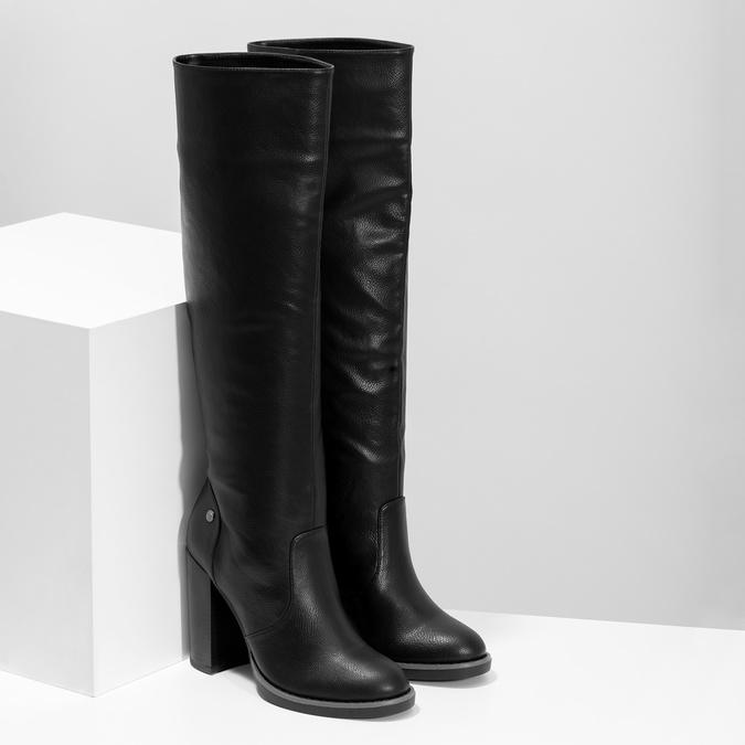 Čierne dámske čižmy na stabilnom podpätku insolia, čierna, 791-6617 - 26