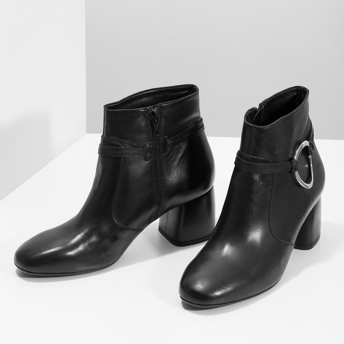 Kožená dámska členková obuv bata, čierna, 694-6665 - 16