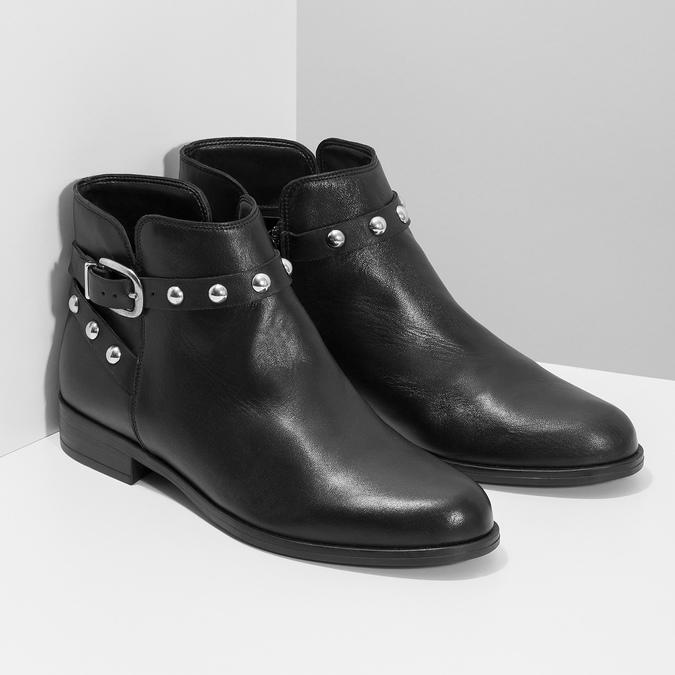 Kožená členková obuv s kovovými cvočkami bata, čierna, 594-6668 - 26
