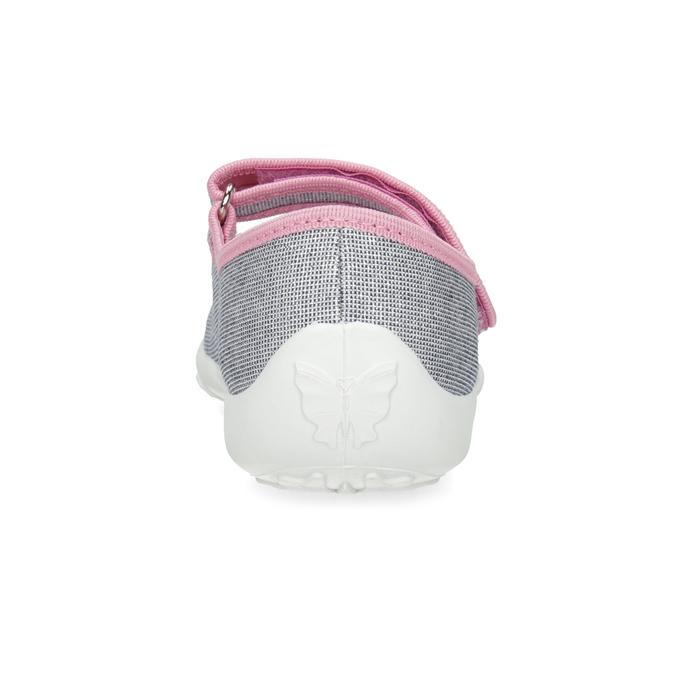 Detská domáca obuv s mašličkou mini-b, strieborná, 379-1314 - 15