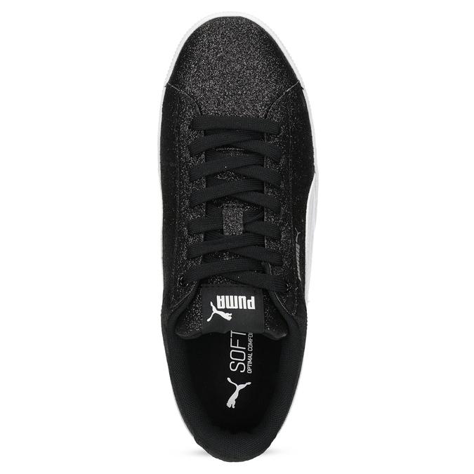 Detské čierne trblietavé tenisky na flatforme puma, čierna, 401-6392 - 17