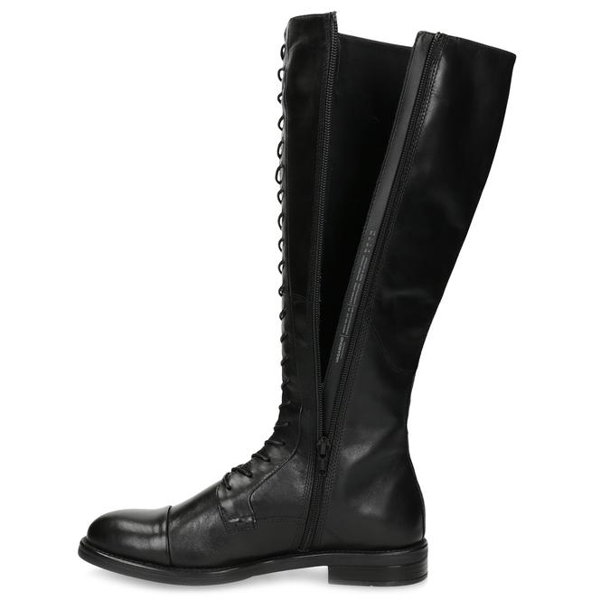 Kožené čierne čižmy s vysokým šnurovaním vagabond, čierna, 594-6007 - 17