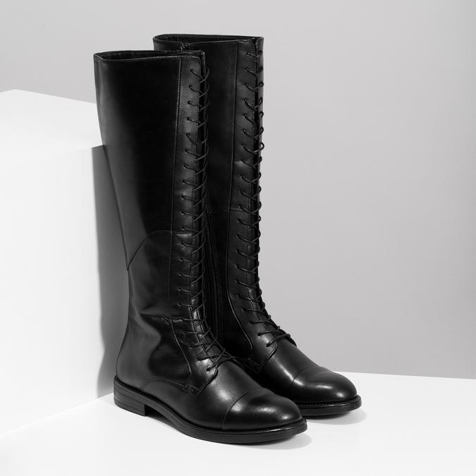 Kožené čierne čižmy s vysokým šnurovaním vagabond, čierna, 594-6007 - 26
