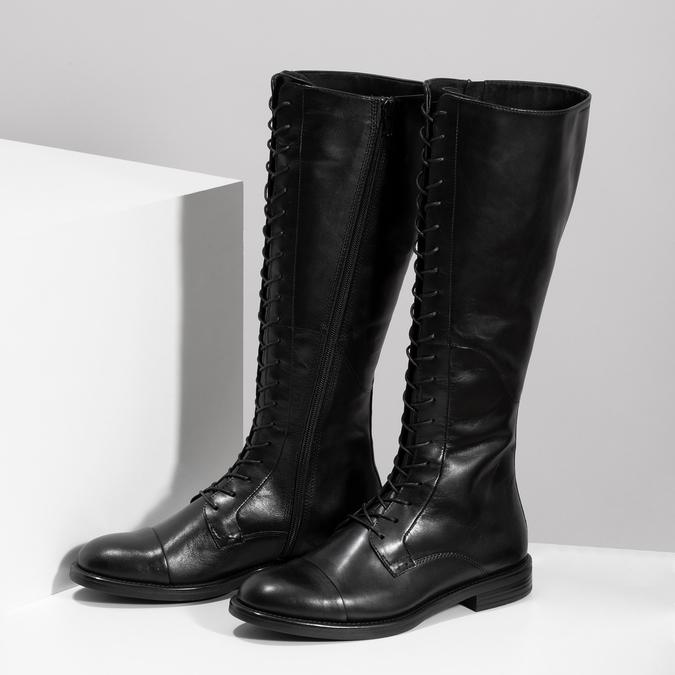 Kožené čierne čižmy s vysokým šnurovaním vagabond, čierna, 594-6007 - 16