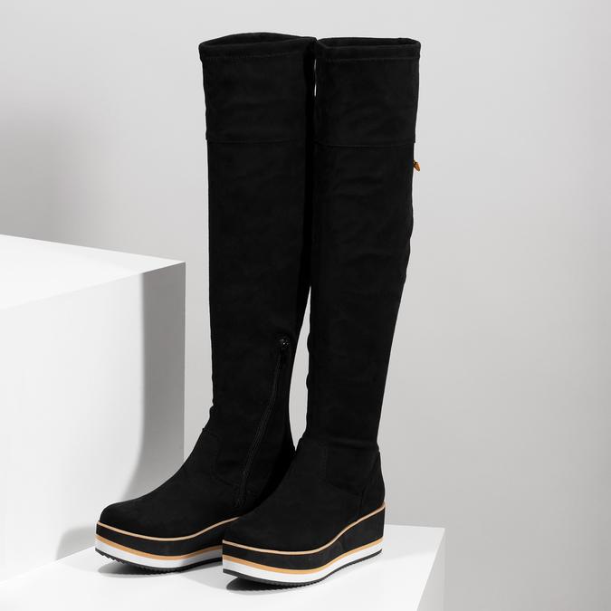 Čierne dámske čižmy na flatforme bata, čierna, 699-6639 - 16