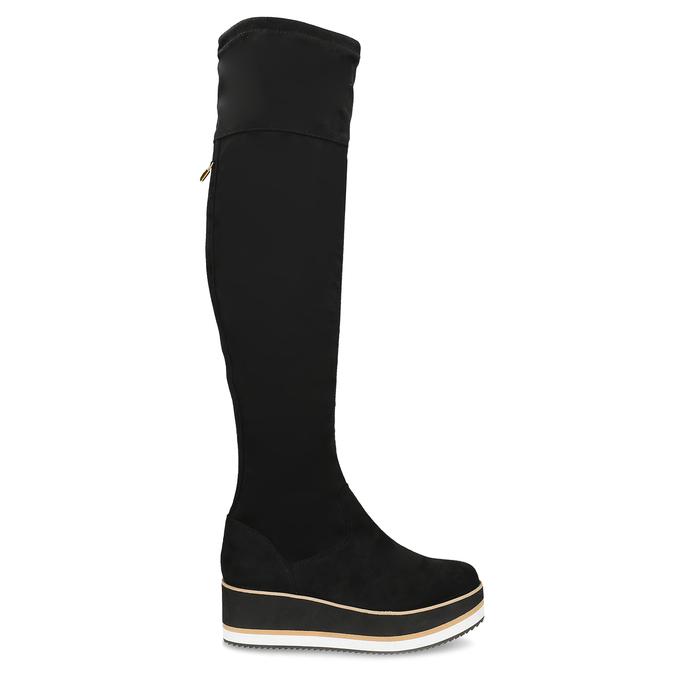 Čierne dámske čižmy na flatforme bata, čierna, 699-6639 - 19