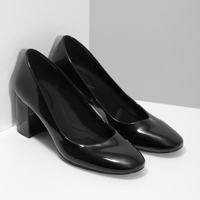 Lakované čierne lodičky pillow-padding, čierna, 721-6656 - 26