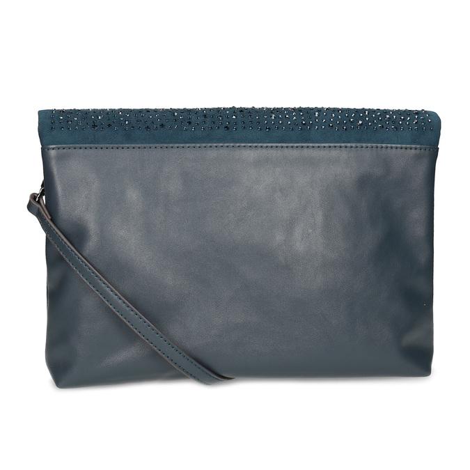 Tmavomodrá listová kabelka s klopou a kamienkami bata, modrá, 961-9910 - 16