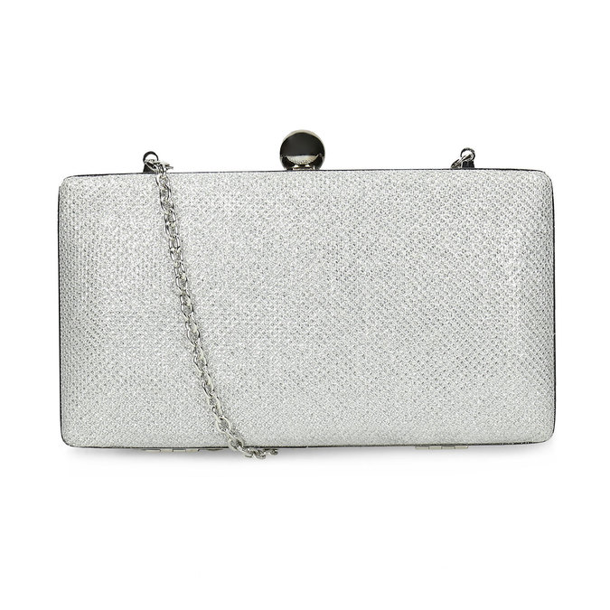 Strieborná listová kabelka pevného tvaru bata, strieborná, 969-1702 - 16
