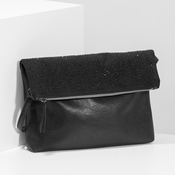 Čierna listová kabelka s klopou a kamienkami bata, čierna, 961-6910 - 17