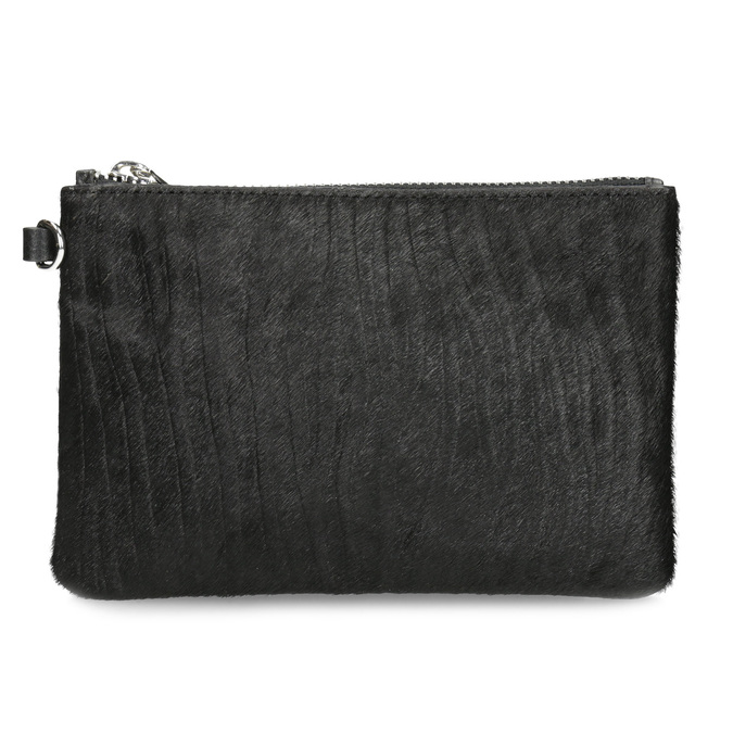 Kožené vrecko s kožušinkou bata, čierna, 944-6227 - 26