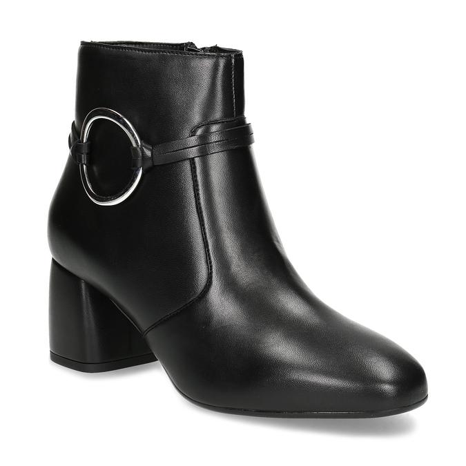 Kožená dámska členková obuv bata, čierna, 694-6665 - 13