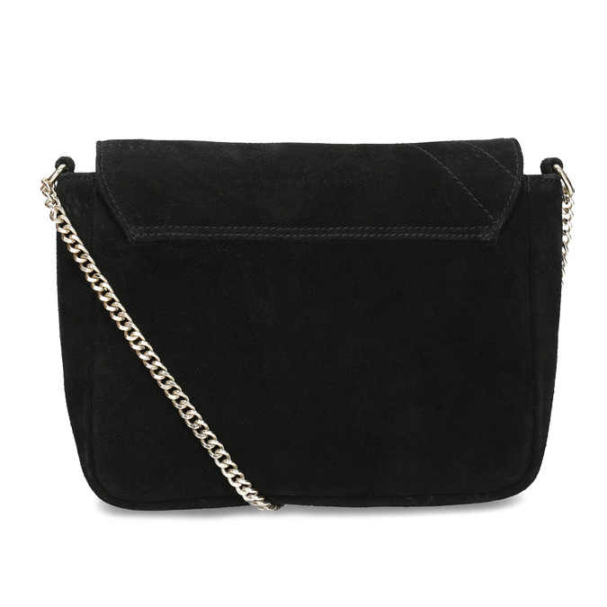 Kožená čierna crossbody kabelka s prešitím bata, čierna, 963-6603 - 16