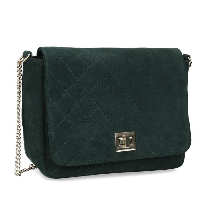 Baťa Zelená kožená Crossbody kabelka s prešitím - Malé kabelky  f48df2fe987