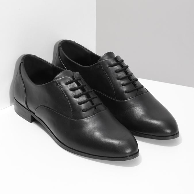 Dámske kožené čierne Oxfordky bata, čierna, 524-6668 - 26