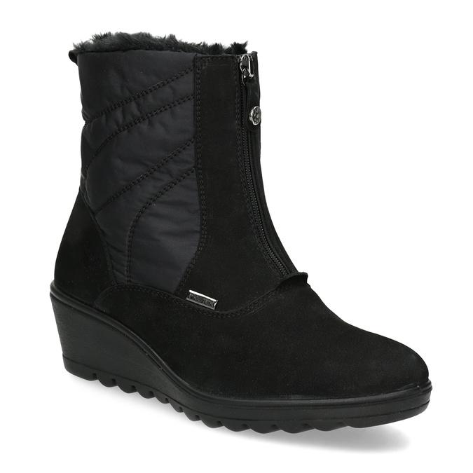 Čierne dámske členkové čižmy so zateplením comfit, čierna, 699-6645 - 13