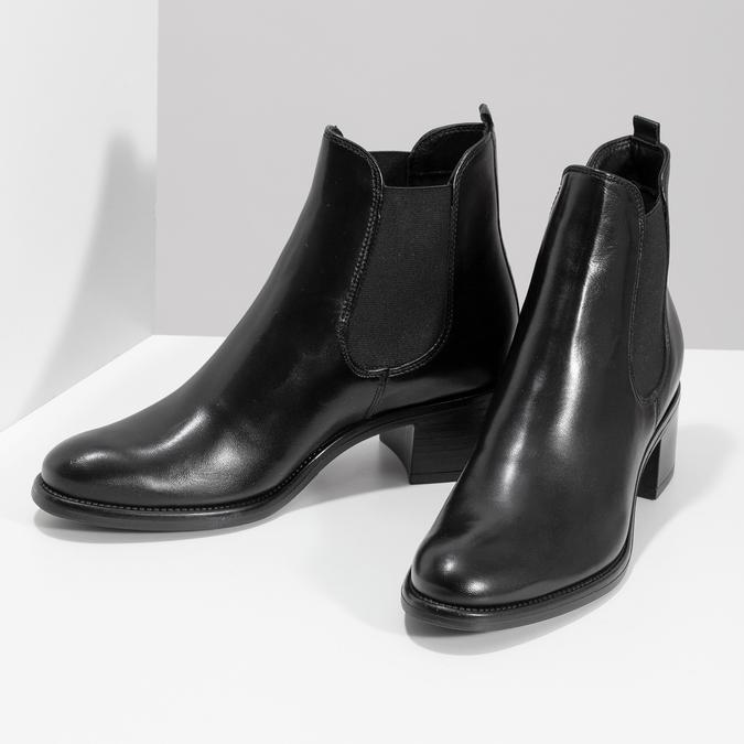 Kožené dámske Chelsea na podpätku bata, čierna, 694-6667 - 16