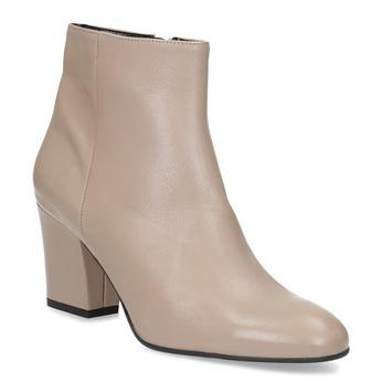 Krémová kožená členková obuv na podpätku bata, béžová, 796-8654 - 13