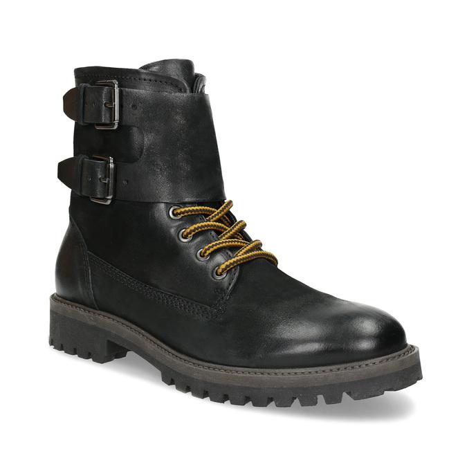 Pánska kožená zimná čierna obuv bata, čierna, 896-6735 - 13