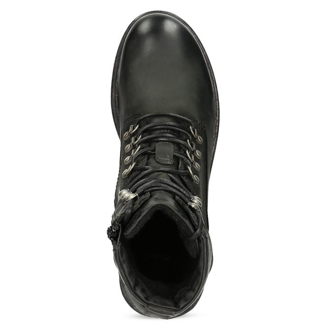 Čierna pánska kožená členková obuv bata, čierna, 896-6743 - 17
