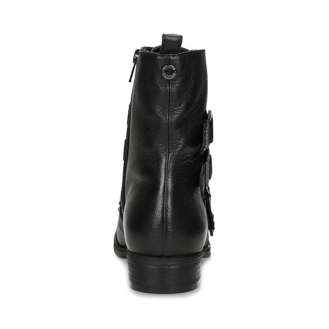 Čierne kožené čižmy s kovovými cvočkami steve-madden, čierna, 514-6025 - 15