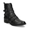 Čierne kožené čižmy s kovovými cvočkami steve-madden, čierna, 514-6025 - 13